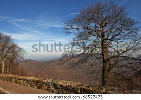 Landscape of the Blue Ridge Mountains on Skyline Drive at the Hemlock Springs Overlook.