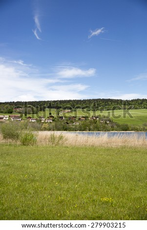 landscape of the Brenet Lake and Jura mountain, Le Pont, Switzerland - stock photo