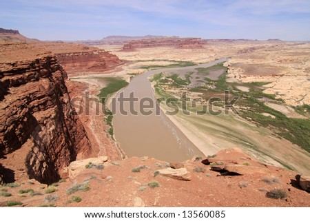 Landscape of the canyon with Colorado river down under