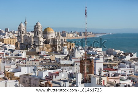 Landscape of the Cathedral of Cadiz, aerial view - stock photo