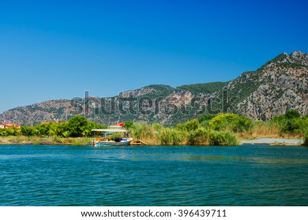 landscape of the coast of the river.  Mountain landscape