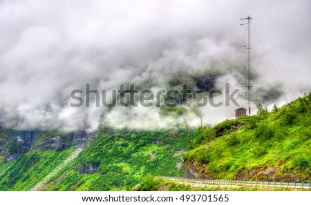 Landscape of the Geiranger valley near Dalsnibba mountain - Norway