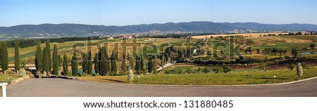 Landscape of the hills near Siena Tuscany Italy