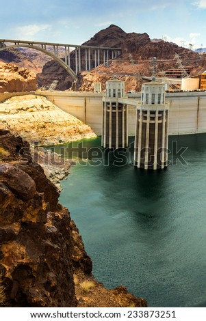 Landscape of the Hoover Dam power station - stock photo