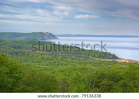 Landscape of the Lake Michigan shoreline with fog and North Bar Lake, Sleeping Bear Dunes National Lakeshore, Lake Michigan, Michigan, USA - stock photo