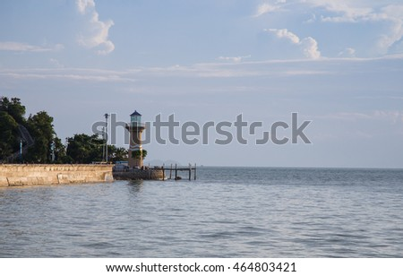 Landscape of the lighthouse with sea view, Thailand, Pattaya