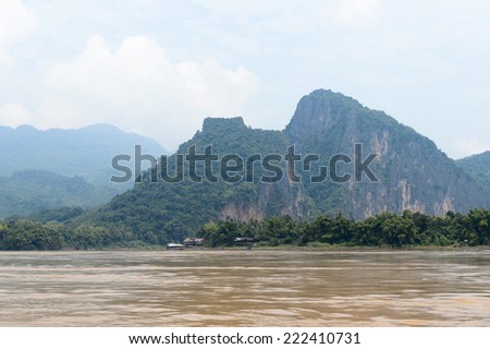 Landscape of the Mekong river in Asia - stock photo