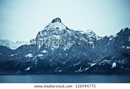 Landscape of the mountains covered with snow. Snowy Mountain.