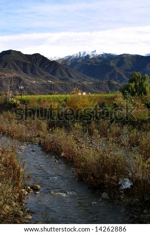 Landscape of the Ojai valley with a creek