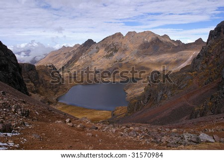 Landscape of the Peruvian Andes - stock photo