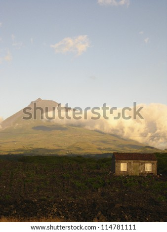 Landscape of the Pico Island Vineyard Culture - stock photo