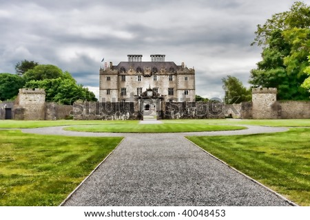 Landscape of the Portumna Castle in Ireland