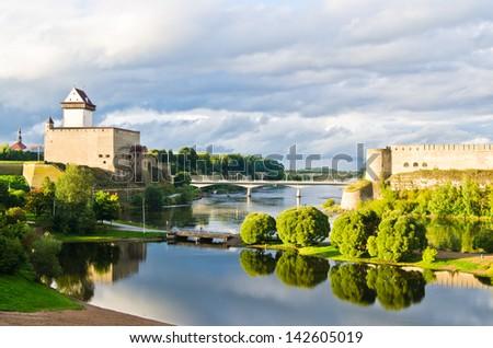 Landscape of the river Narova. Border of Estonia and Russia - stock photo