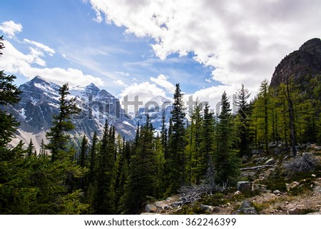landscape of the rocky mountains of alberta canada during a sunny day in the banff national park - stock photo