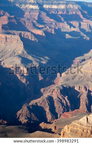 Landscape of the rugged Grand Canyon of Arizona for texture or background