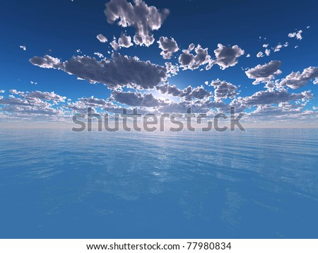 Landscape of the sea in the evening - stock photo