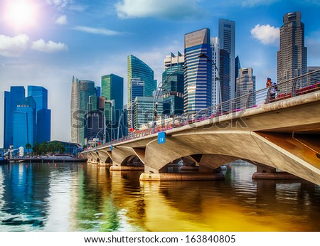 Landscape of the Singapore city financial district - stock photo