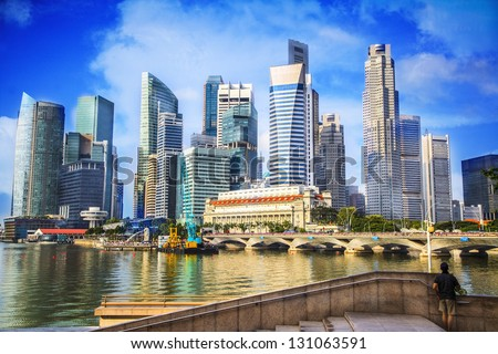 Landscape of the Singapore financial district - stock photo