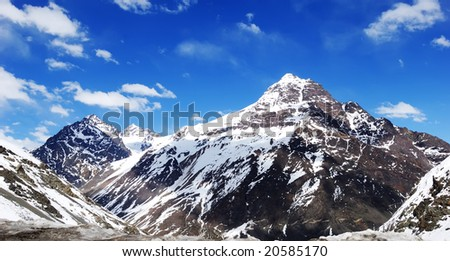 Landscape of the snow mountain in chile. - stock photo