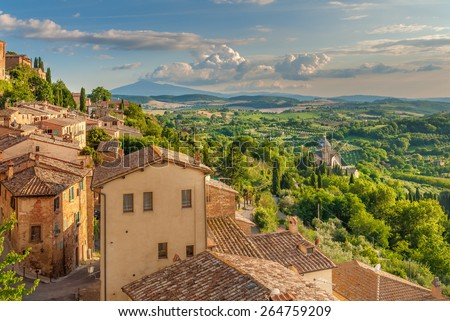 Landscape of the Tuscany seen from the walls of Montepulciano, Italy - stock photo