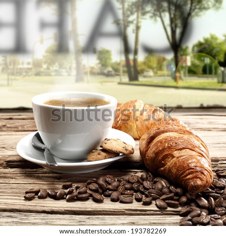 landscape of town and cafe  - stock photo