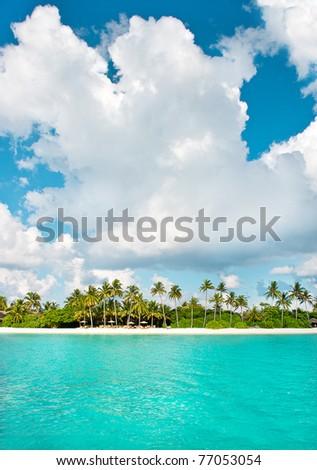 landscape of tropical island beach - stock photo