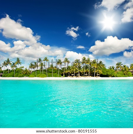 landscape of tropical island beach with perfect sky - stock photo