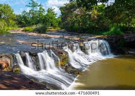 landscape of Tropical Tadtone waterfall in rain forest in Ubon Ratchathani North east of Thailand