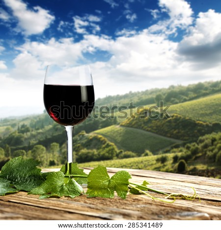 Landscape of Tuscany and leaves of plant and red wine