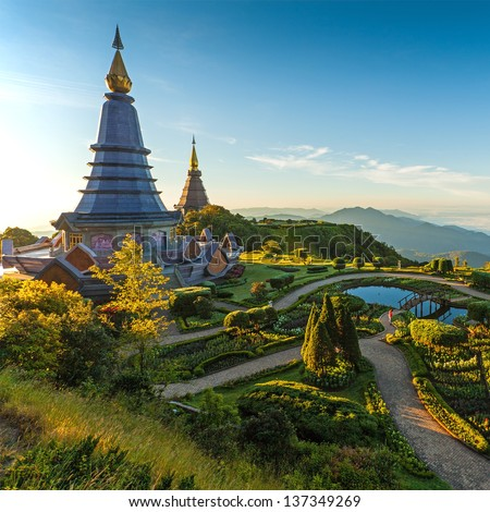 Landscape of two pagoda in an Inthanon mountain, Thailand. - stock photo
