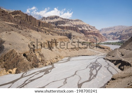 Landscape of upper Mustang, on the way to Chuksang village, Mustang, Nepal