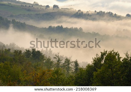 landscape of valley at sunset - stock photo