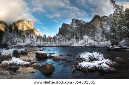 Landscape of Valley View in the early moring during in the winter. Yosemite National Park - stock photo