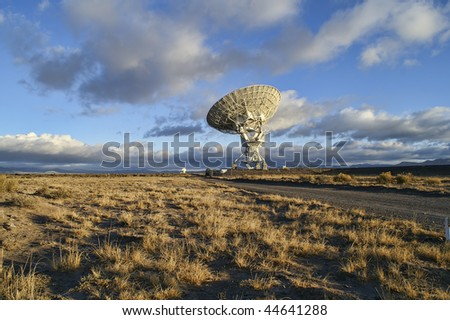 Landscape of Very Large Array of Radio Telescopes in New Mexico, USA. - stock photo