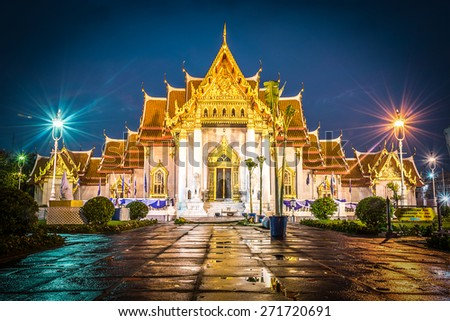 Landscape of Wat Benjamaborphit (Marble Temple) in Bangkok City , Thailand after raining at twilight time. - stock photo