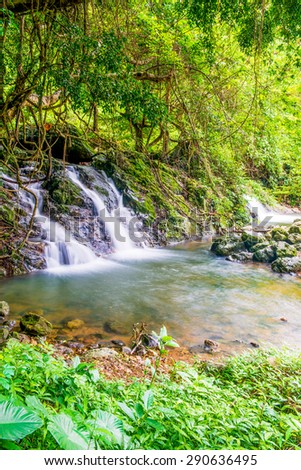 Landscape of Waterfall in National Park, Thailand - stock photo