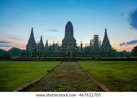 Landscape of world heritage site of Wat Chaiwattanaram at ancient city, Ayuthaya, Thailand before sunrise.