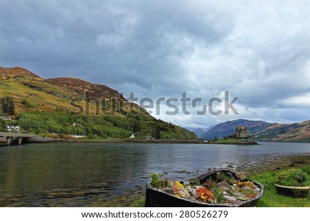 Landscape ofEilean Donan Castle in Loch Duich, Scotland - stock photo