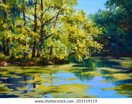 landscape oil painting - river in autumn forest  - stock photo