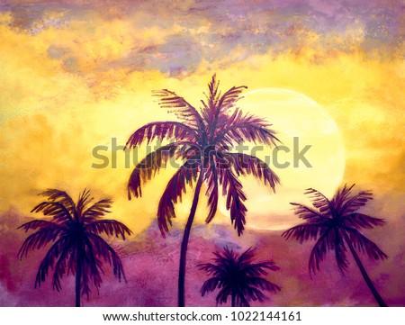 Landscape Oil Painting Sunset Palm Trees Stock Illustration