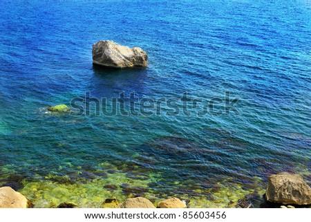 Landscape  on Black Sea beach. Crimea, Ukraine - stock photo