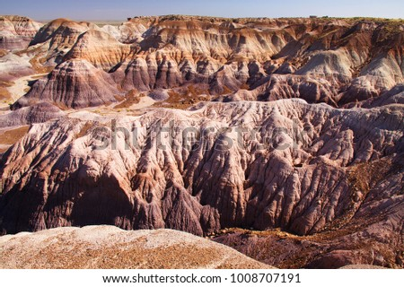 Landscape on Blue Mesa Trail in Petrified Forest National Park in Arizona in the USA
