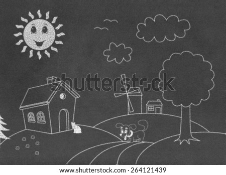 Landscape on chalkboard - stock photo