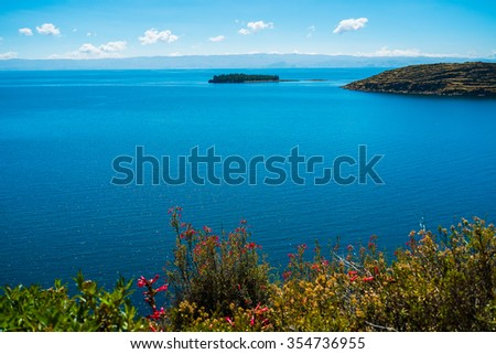 Landscape on Isla del Sol, Lake Titicaca, Bolivia - stock photo