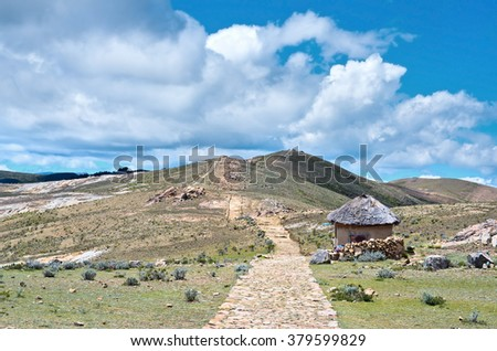 Landscape on Island of the Sun (Isla Del Sol) on Titicaca lake,  Bolivia. - stock photo