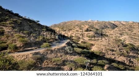 Landscape on road from Asmara to Masawa, Eritrea - stock photo