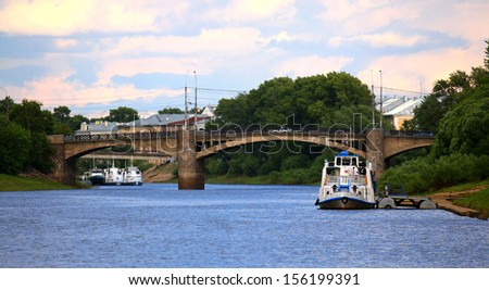 landscape on the banks of the river - stock photo