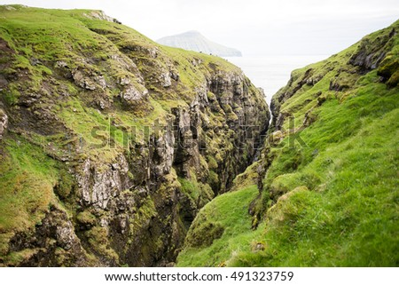 Landscape on the Faroe Islands with ocean and cliffs on Streymoy