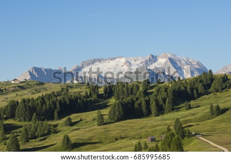 Landscape on the Marmolada during summer. Melting glaciers
