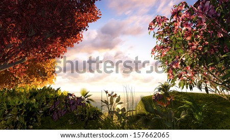 Landscape overlooking the sunny flowering meadow - stock photo